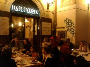 Outside Dar Poeta in Trastevere. So popular that even on a cool November evening people were eating outdoors.