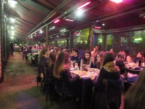 Rossini's lively outdoor dining area. Make a reservation for Friday or Saturday. It is very busy with groups.