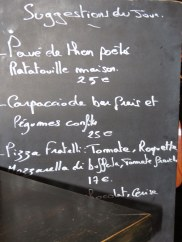 Classic French style: daily menu on a blackboard brought to your table.