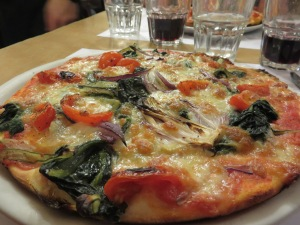 We both chose the same pizza, the Contadina, a vegetarian delight. So flavorful!