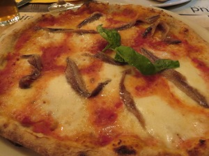 My choice: Good old Pizza Napoli. The anchovies were large and tasty, not too salty.
