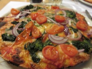 My vegetarian pizza. Good fresh veg, but the crust and tasteless sauce spoiled it.