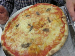 Ric's pizza Napoli. Nice scattering of anchovies and excellent cheeese.