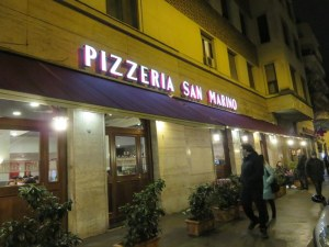 Pizzeria san Marino is on a busy street in the Trieste area of Rome.