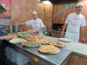 Pizza prep-and-cook area. It was like a floor show.