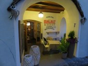 You enter Mauriz Keller via a stairway from main street, or down a quiet alley to this cozy entry.