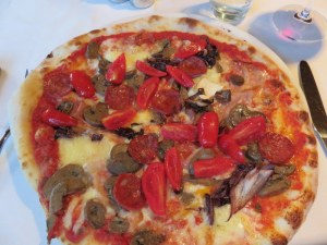 Pizza Golosona: spicy salami, fresh tomatoes, brie, mushrooms, raddicchio, tomato and mozzarella. So good we ordered it both weeks.