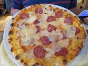 Ric's pizza cervo, with venison sausage. Tasty, not soggy.