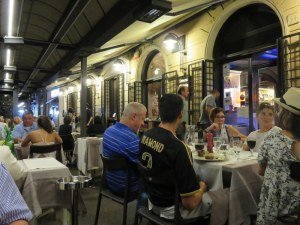 Outdoors at Rossini on Friday night. It is packed by 9;00PM.
