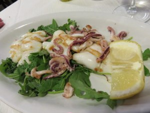 Calamari alla piastra, or grilled calamari, our other favorite.