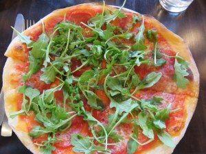 A classic Diavola has only spicy salami. I added arugula, one of the add-on choices.