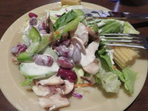 The salad bar was not bad, but the paper plates we use in America, ugh!